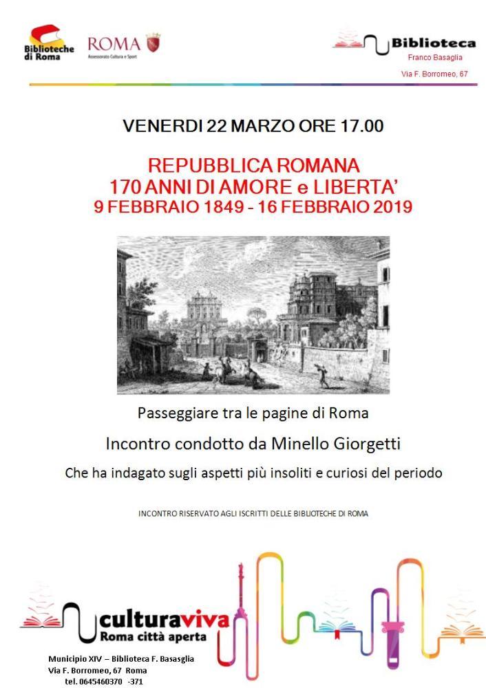 Repubblica romana 170 anni di amore e libertà